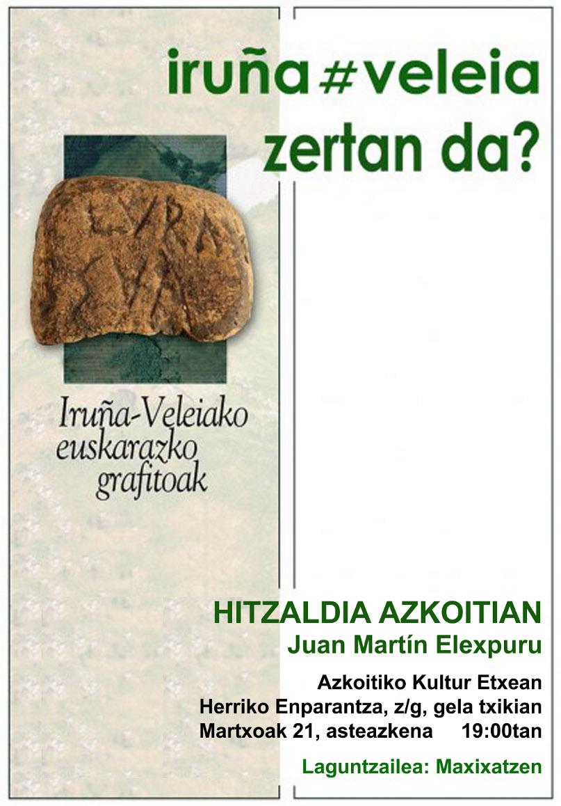 Iruña Veleia hitzaldia Azkoitin